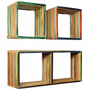 Set rafturi de perete 3 buc. Tec masiv reciclat Multicolor - V245410V