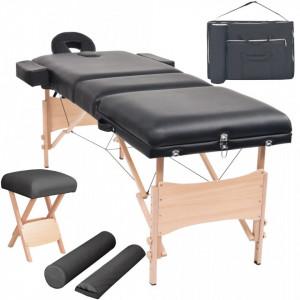 Set taburet si masa de masaj pliabila in 3 zone, grosime 10 cm, negru - V110157V