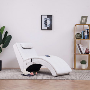 Sezlong de masaj cu perna, alb, piele artificiala - V281345V