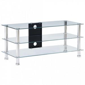 Stativ TV, transparent, 90x40x40 cm, sticla securizata - V280095V