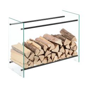 Suport lemne foc Oshawa Glas, 80x60x35cm, otel/sticla securizata, transparent/negru - P71901956
