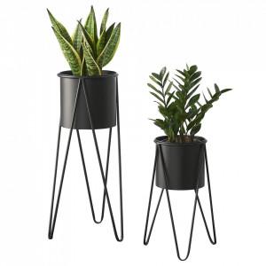 Suport plante Nora 2 bucati, marimi diferite, metal/negru - P65862394