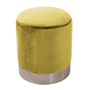 Taburet, catifea Velvet auriu/crom argintiu, DARON