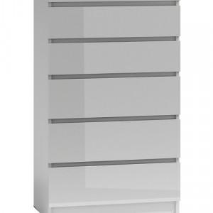 TECOA130 - Comoda 70 x 40 x 112 cm, Alb-Lucios