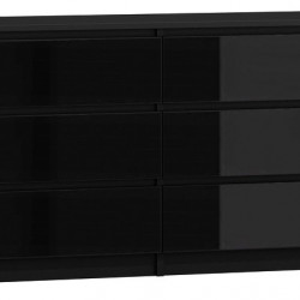 TECON111 - Comoda 138 x 40 x 77 cm, Negru-Lucios