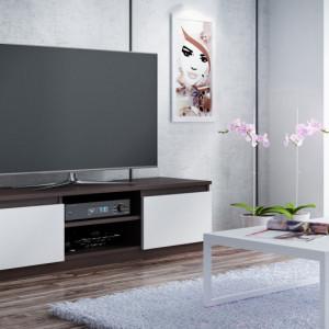TECTV1 - Comoda TV 120 cm, living - Alb, Stejar, Maro, Sonoma-Alb, Negru, Sonoma, Maro-Alb
