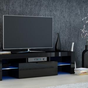 TECTV5 - Comoda TV 140 cm, living - Alb lucios, Negru lucios, Stejar
