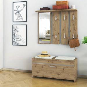 TECUIAR103 - Set Cuier hol 100 x 38 x 180 cm - Stejar Artisan