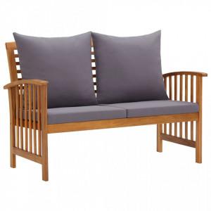 Banca de gradina cu perne, 119 cm, lemn masiv de acacia - V310261V