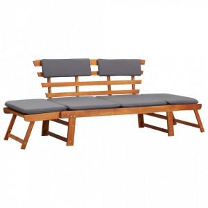 Banca de gradina cu perne 2-in-1, 190 cm, lemn masiv de acacia - V45960V
