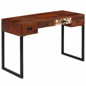 Birou, 117x50x76 cm, lemn masiv de sheesham si piele naturala - V244847V