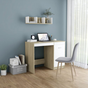Birou, alb si stejar Sonoma, 100 x 50 x 76 cm, PAL - V801801V