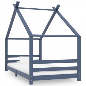 Cadru de pat pentru copii, gri, 90 x 200 cm, lemn masiv de pin - V289615V