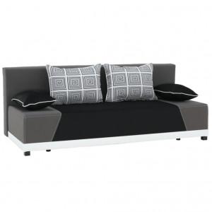 Colţar extensibil, material textil negru/gri/perne gri cu model, ROKAR