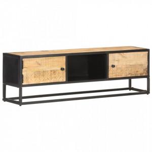 Comoda TV cu usa sculpata, 130 x 30 x 40 cm, lemn mango brut - V320943V