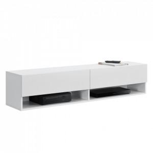 Comoda TV Halmstad W, 140 x 31 x 30 cm, PAL melaminat, alb, cu 2 usi si 2 rafturi, montabila pe perete - P73294039