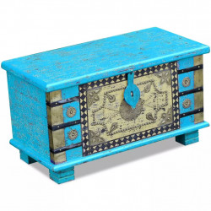 Cufar din lemn de mango, 80x40x45 cm, albastru - V243332V