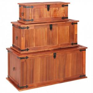 Cufere de depozitare, 3 buc., lemn masiv de acacia - V247243V
