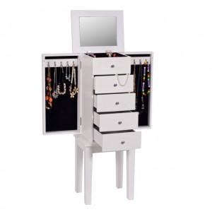 Cutie de bijuterii cu oglindă, alb, DINIS