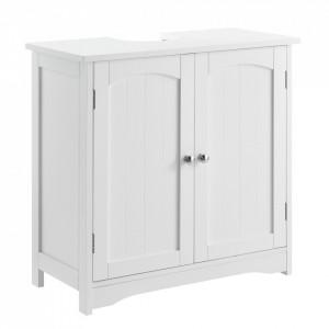 Dulap baie AANT-0338 pentru lavoare/chiuvete montabile pe blat, 60 x 60 x 30 cm, placa MDF, lacuit, alb - P57498335