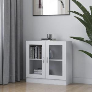 Dulap cu vitrina, alb, 82,5 x 30,5 x 80 cm, PAL - V802741V