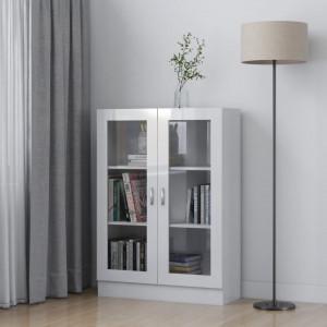 Dulap cu vitrina, alb extralucios, 82,5 x 30,5 x 115 cm, PAL - V802756V