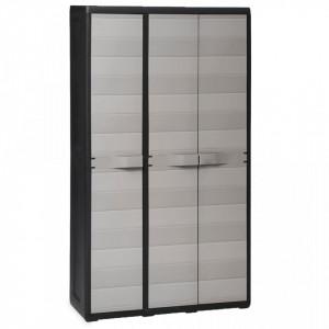 Dulap de depozitare pentru gradina, cu 4 rafturi, negru si gri - V43701V