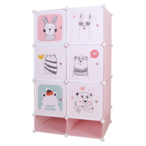 Dulap modular pentru copii, roz / model copii, NORME