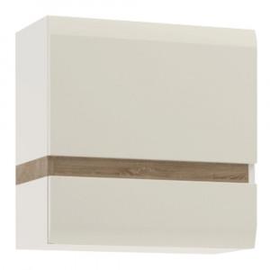 Dulap suspendabil, alb extra luciu ridica HG/stejar sonoma închis la culoare truflu, LYNATET TYP 66