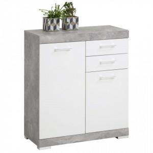 FMD Dulap cu 2 usi si 2 sertare, 80x34,9x89,9 cm, gri beton si alb - V428705V