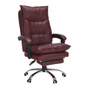 Fotoliu de birou cu suport pentru picioare, piele ecologică bordo, DRAKE