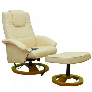 Fotoliu de masaj cu taburet, crem, piele ecologica - V60276V