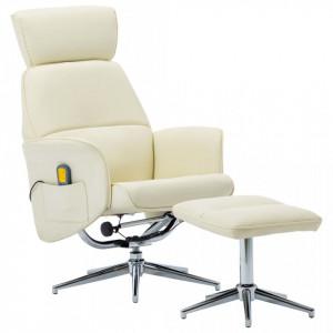 Fotoliu de masaj rabatabil cu taburet alb crem piele ecologica - V289880V