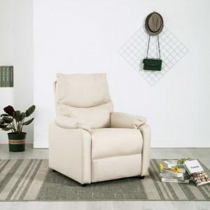 Fotoliu rabatabil pentru TV, crem, material textil - V248685V