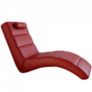 Fotoliu relaxant, piele eco roşie, la comandă, LONG