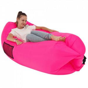 Geantă scaun gonflabilă / geanta leneşă, roz, LEBAG