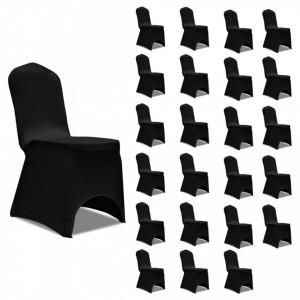 Huse de scaun elastice, 24 buc., negru - V3051639V