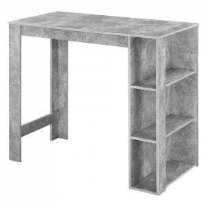 Masa bar Danderyd BO, 120 x 60 x 105,5 cm, PAL melaminat, efect beton, cu trei rafturi - P73294020