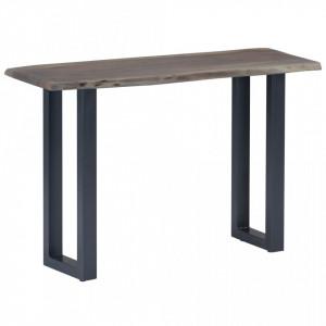 Masa consola, gri, 115x35x76 cm, lemn masiv de acacia si fier - V247831V