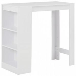 Masa de bar cu raft, alb, 110 x 50 x 103 cm - V280211V