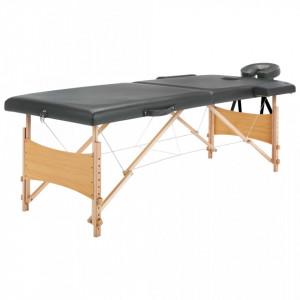 Masa de masaj cu 2 zone, cadru din lemn, antracit, 186 x 68 cm - V110171V