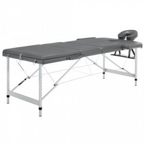 Masa de masaj cu 3 zone, cadru aluminiu, antracit, 186 x 68 cm - V110175V