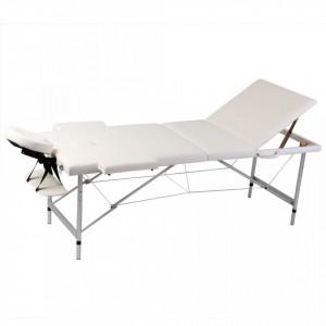 Masa de masaj pliabila 3 parti cadru din aluminiu Crem - V110089V