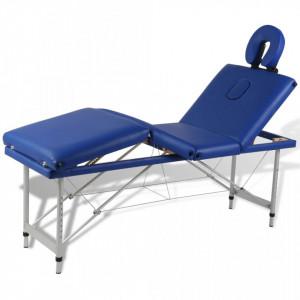 Masa de masaj pliabila 4 parti cadru din aluminiu Albastru - V110097V