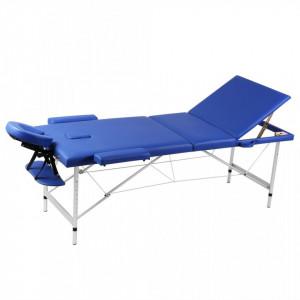 Masa de masaj pliabila cadru din aluminiu 3 parti Albastru - V110090V