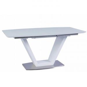 Masă dining, pliabilă, alb luciu extra ridicat / oţel, PERAK