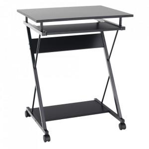 Masă mobilă pentru PC/masă de joc cu roţi, negru, TARAK