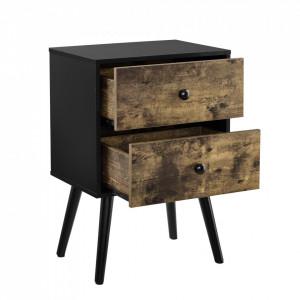 Masuta Amalia cu sertare, 60 x 40 x 29,5 cm, PAL/lemn, 10Kg, dreptunghiulara, efect lemn/negru - P65373536