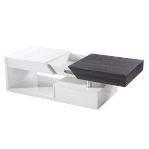 Măsuţă de cafea, alb extra lucios HG/gri cu design din lemn, MELIDA