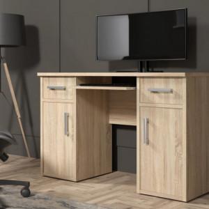 MBBI9 - Birou 120 cm, masa de calculator cu 2 sertare si 2 dulapuri, office - Alb, Sonoma, Maro